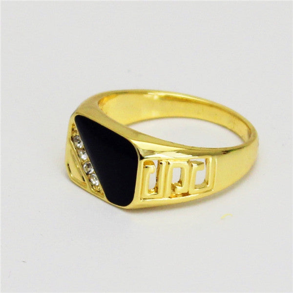 Brand Size 8-11 Hollow Out Design Fashion Classic Black Enamel Rhinestone Golden Rings For Men and Women