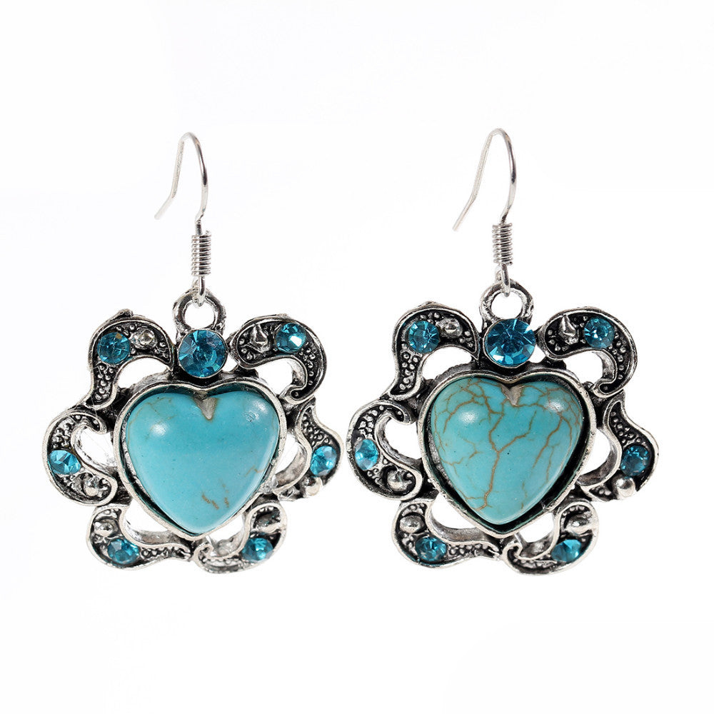Brand designer New Fashion Simple Geometric heart blue gem Bohemia Retro big Turquoise earrings jewelry for woman