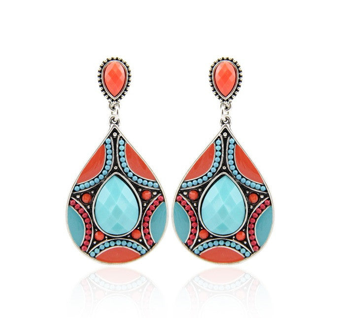 Brincos Charming Ethnic Tibetan Silver Oval Rimous Turquoise Crystal Drop Dangle Earrings Christmas Gift for Women