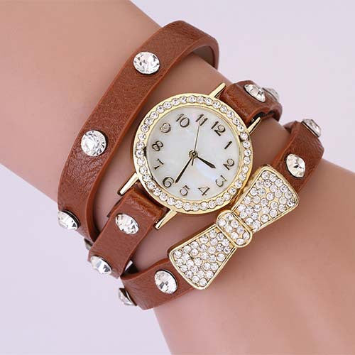 New Arrivals Women Leather Strap Watches Auger Bowknot