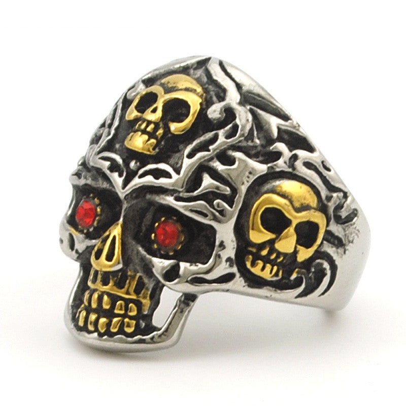 Gold Color Stainless Steel Rings for Motorcycle Biker PUNK Red Eye Skull Ring Men's Jewelry