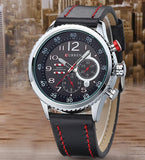 "Description: - 100% brand new and high quality. - Durable stainless steel back,leather band - Analog display. - Small dials just for decoration,non-function - Precise quartz movement for accurate time keeping. - Daily water resistance (not for showering and swimming).   Features (Approx): - Watchcase Diameter: 4.2cm (1.65"") - Watchcase Thickness: 1.0cm (0.39"") - Band Length (Included the case): 26.0cm (10.24"") - Watchband Width: 2.2cm (0.87"") - Band material: Leather - Case material: Alloy   Package included:  - 1 x Men Watch"