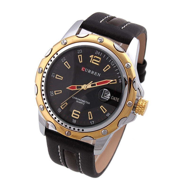 Luxury Watch Sports Watches Analog Steel Case quartz Watch Clock hours with date leather strap Men's Wristwatch