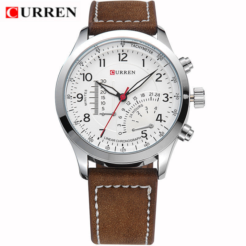 CURREN Luxury Brand Leather Strap Analog Men's Quartz Watch Casual Watch Men Wristwatch