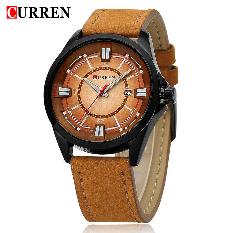 CURREN New Leather Watch Men Luxury Brand Analog Date Display Casual Watch Quartz Watch Men Wristwatch
