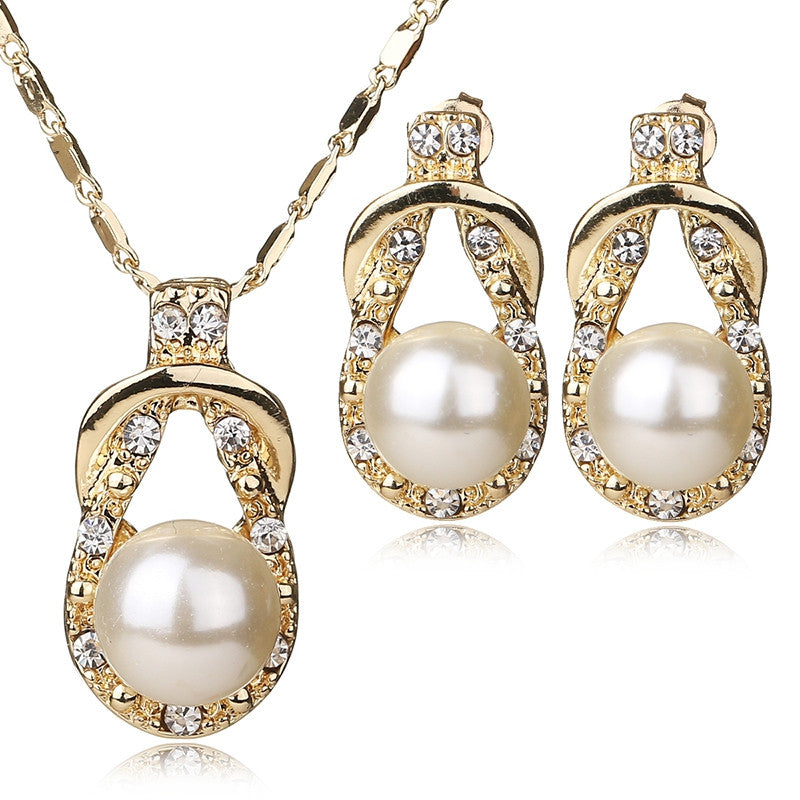 Necklace Earrings Set Gold Plated Fine Jewelry Sets For Women Simulated Pearl Vintage Bridal Wedding Crystal Accessories