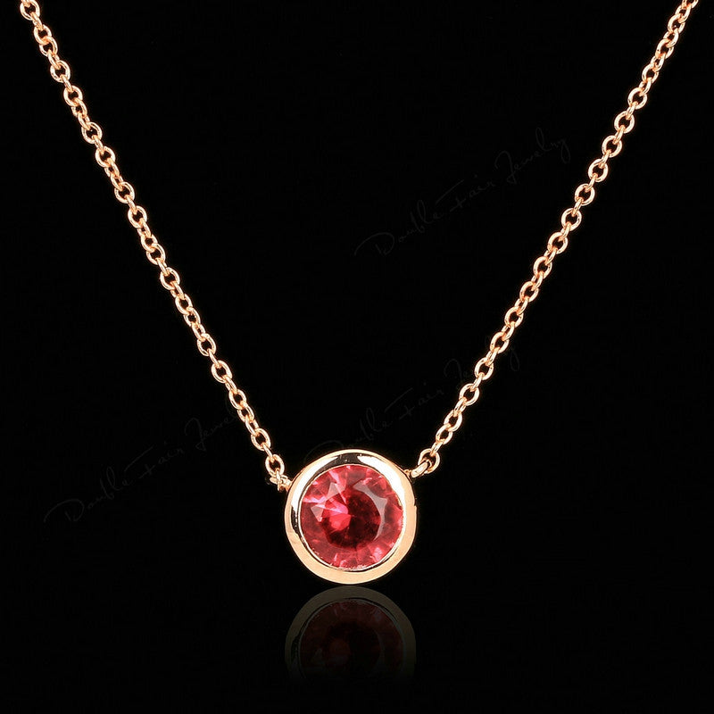 Double Fair Simple Style Cubic Zirconia Necklaces &Pendants Rose Gold Plated Fashion Jewelry For Women Chain Accessiories