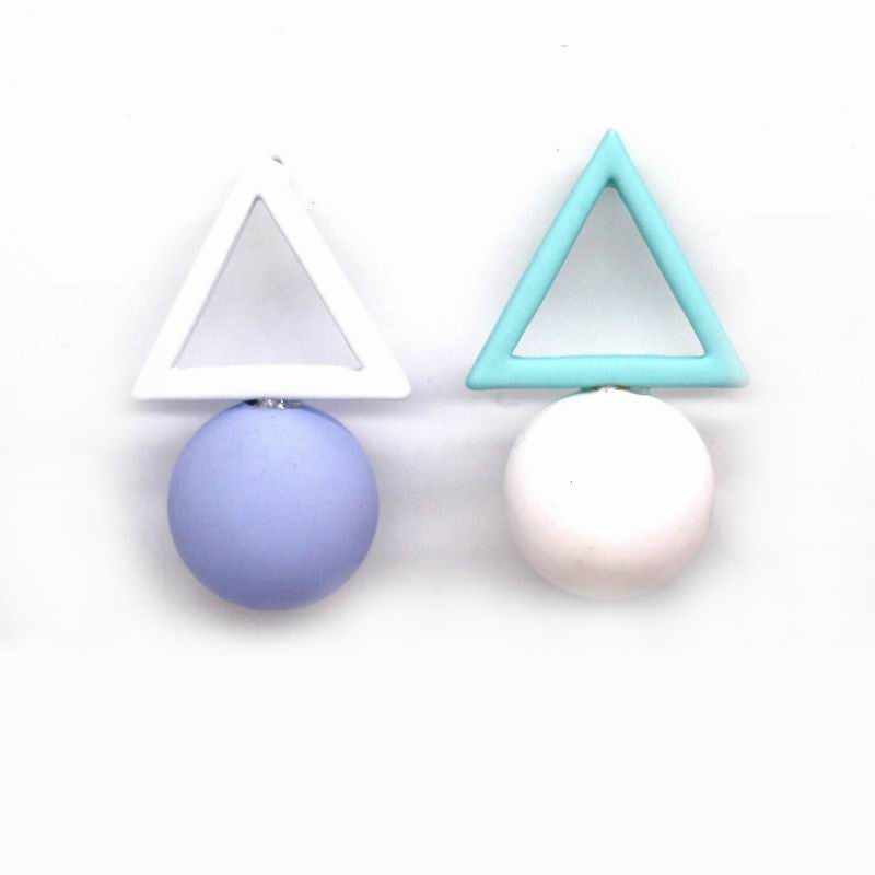 Candy Colors Triangle Ball Drop Earrings For Women Bijoux New Fashion Jewelry Wholesale Cute Gift