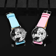 Cartoon Quartz Wristwatch Children Hot Sale Leather Watch Mickey Mouse fashion casual watches kid boy women girls cute relojes