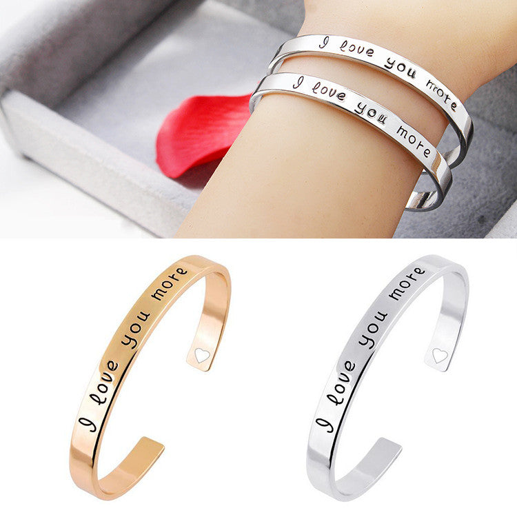 "Carving Letter ""I love you more"" Heart Hollow Simple Creative Lovers Bangles Armreif bijoux pulseras Opening Bracelet Jewelry"