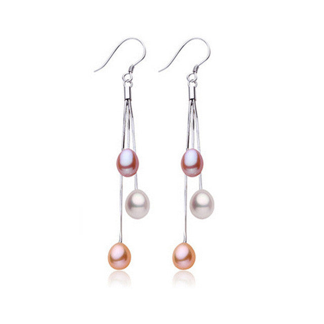 Casual 6-7mm natural freshwater pearl earrings 100% real s925 pure silver jewelry for women high quality white/multi-color