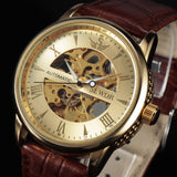 Casual Fashion Men's Watches Men Luxury Brand Skeleton Dial Leather Strap Mechanical Watch Vintage Dress Watches