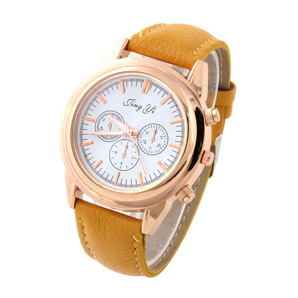 Casual Watches Unisex gold Case Dress watch elegant white ...