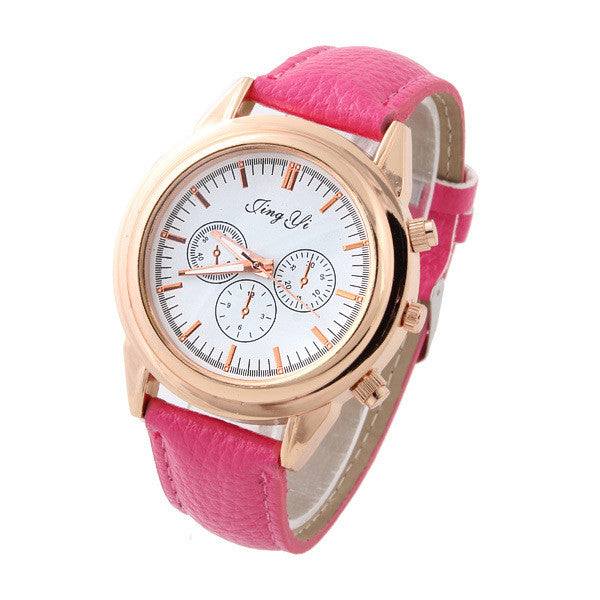 Casual Watches Unisex gold Case Dress watch elegant white dial quartz Watches PU belt analog wristwatches