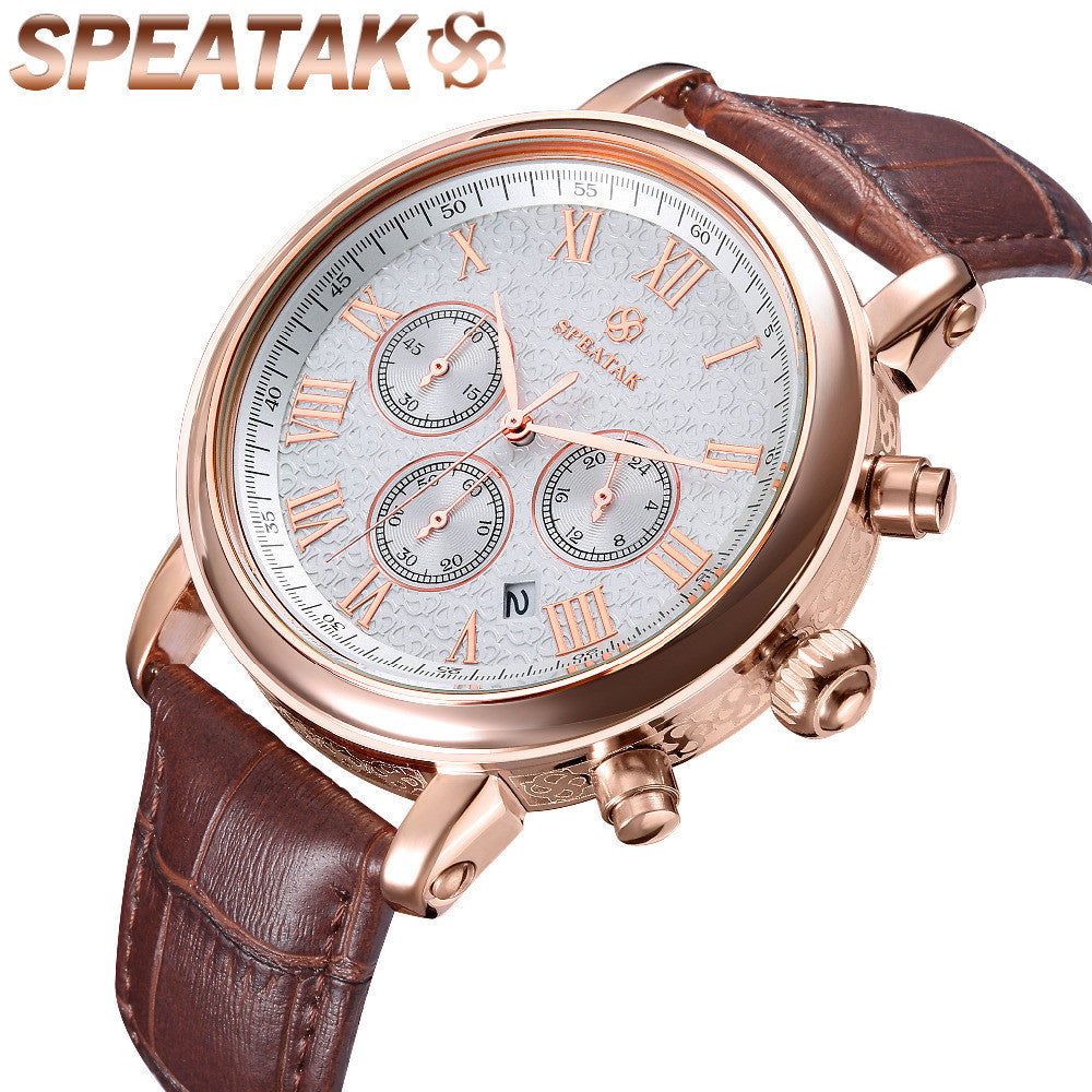 Casual watch style men wrist watches fashion outdoor men's leather luxury brand top calendar designer business quartz watch