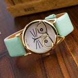 Vintage Cat Watch with Glasses Fashion Women Quartz Watches Leather Strap