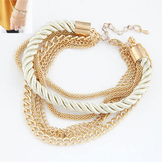 Charm Bracelet for women Fashion Jewelry Gold Chain Braided Rope Multilayer Bracelets & Bangles for Women