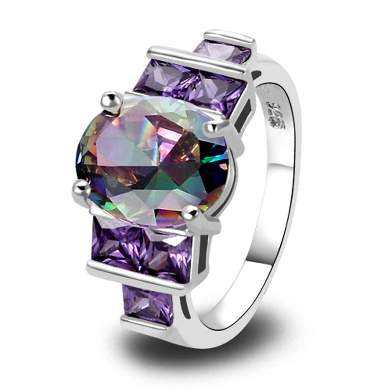Charm Fancy Shinning Round Cut Rainbow Sapphire & Amethyst Silver Ring