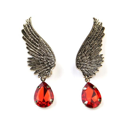 Charm Fashion 1pcs Right Retro Angel Wings Drop Crystal Jewel Tassel Ear Whiite Earrings Jewelry For Women Jewellery
