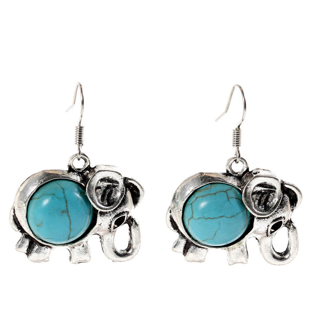 Charming Ethnic Tibetan Silver Oval Rimous Turquoise Crystal Drop Dangle Earrings Christmas Gift for Women Earrings