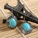 Charming flower tibetan silver earring with turquoise and crystal jewelry Vintage Earrings For Women Dangle Jewelry