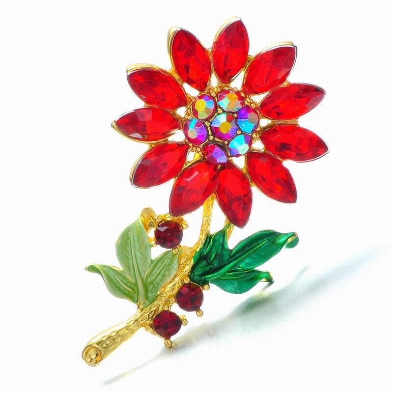 Charms birthstone Fashion Wedding Collar Plant flower Brooch Pins Rhinestone brooch Crystal Scarf vintage brooch Women Jewelry