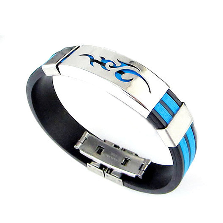Chic Men Jewelry Flame Logo Titanium Steel Bangle Silicone Wristband Bracelet Stylist Gift