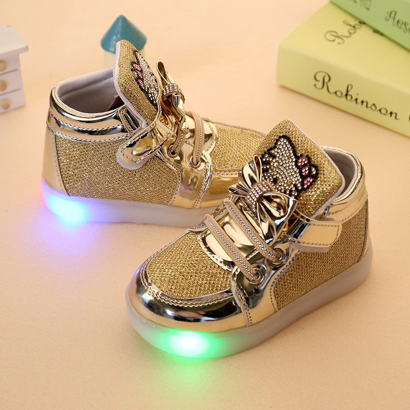 Children Shoes New Spring Rhinestone Led Shoes Girls Princess Cute Shoes With Light