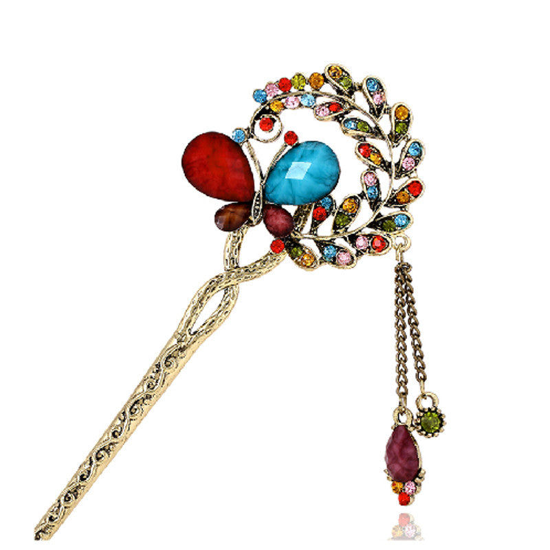 Vintage Chinese Ancient Classical Lady Styling Tools Wedding Hair Accessories Peacock Hair Sticks Butterfly Hairpins Tiara Hair Jewelry