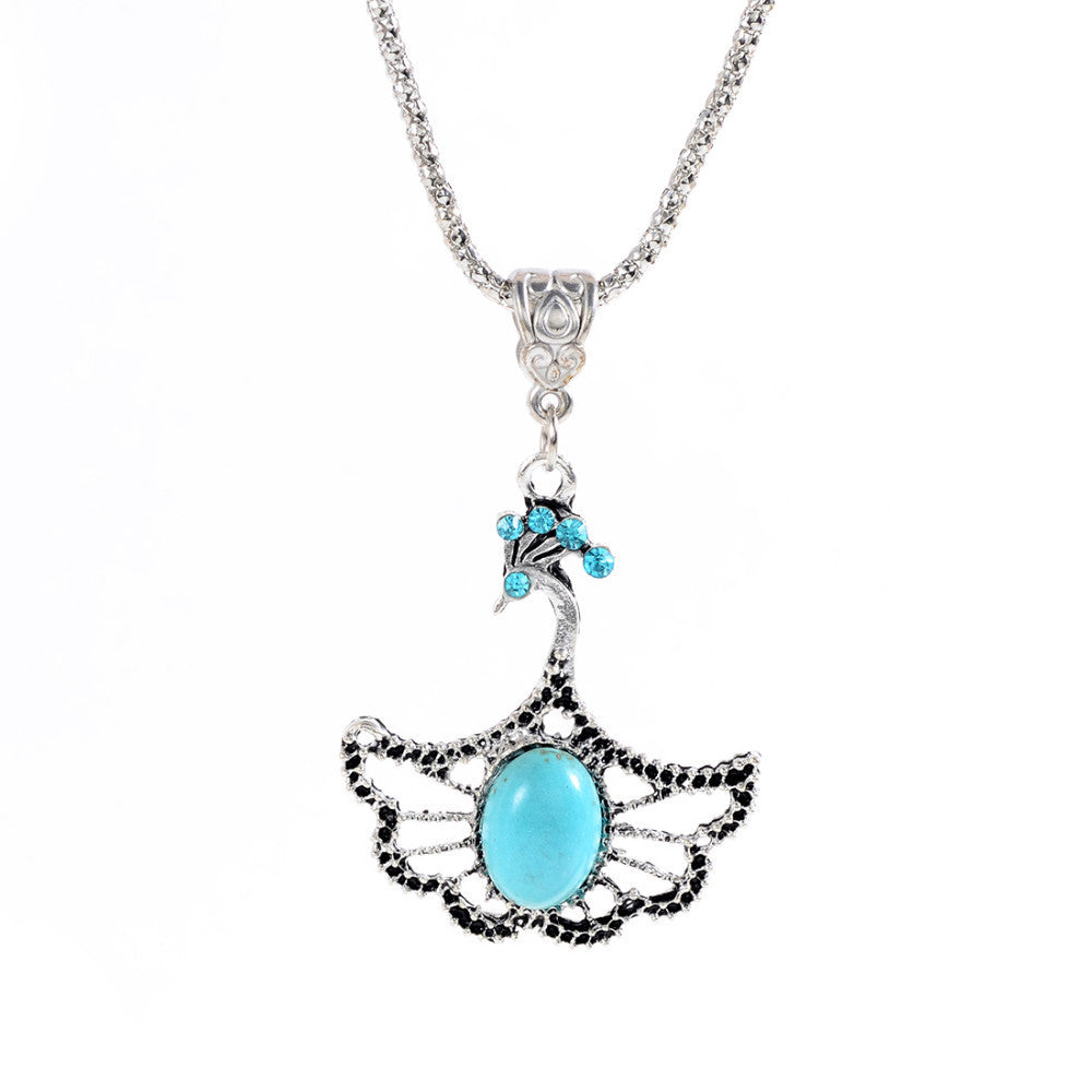 Christmas Antique Hollow Tibetan Silver Butterfly Crystal Turquoise Pendant Chain Necklace Clothes for Women