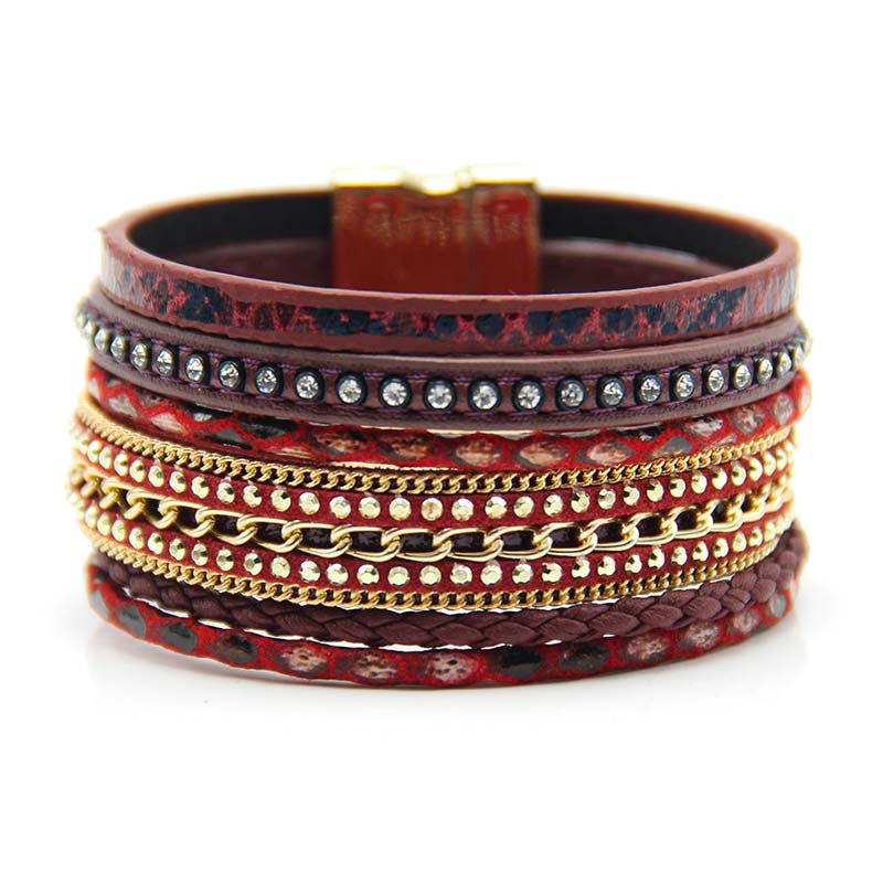 Christmas Gift Fashion Multilayer Leather Leopard Magnet Bracelet