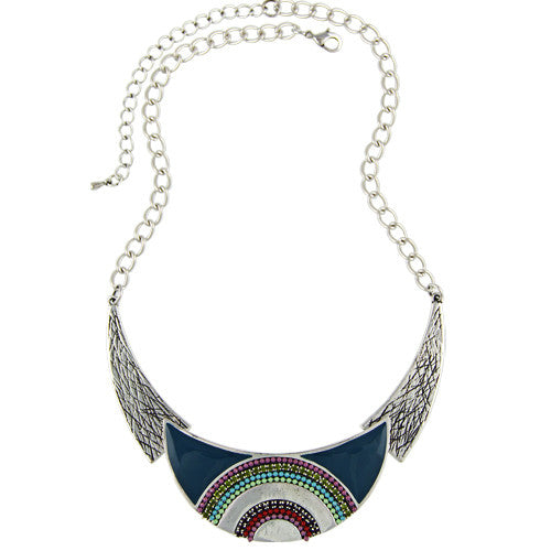 Christmas New Fashion 2016 Moon Collars Vintage Ethnic Colorful Enameling Beads Statement Choker Necklaces Women Retro Jewelry