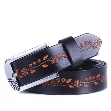 Fashion 100% Genuine Leather Women Belts Metal Pin Buckle Leather Belts For Women