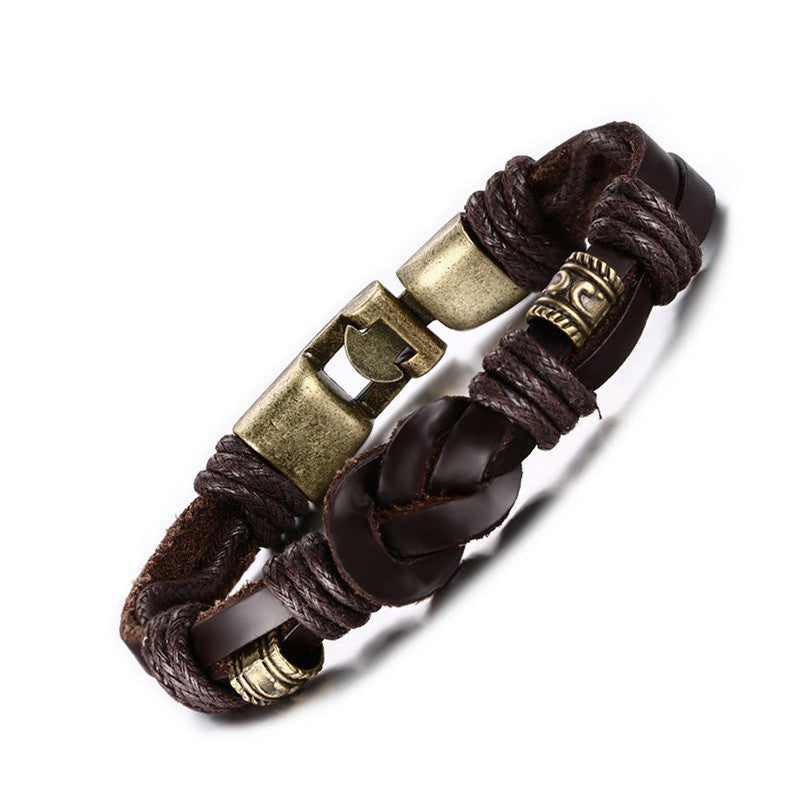 FASHION Jewelry Punk Rose Gold Stainless Steel Accessories Black Weave Genuine leather Men Bracelet male Bangles