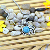 Classic Elephant Collares Vintage Turquoise Silver Color Jewelry Fashion Crystal Pendant Statement Chain Necklace for Women