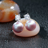 Classic Real freshwater pearl earrings 925 silver jewelry for women wholesale price white/pink/purple