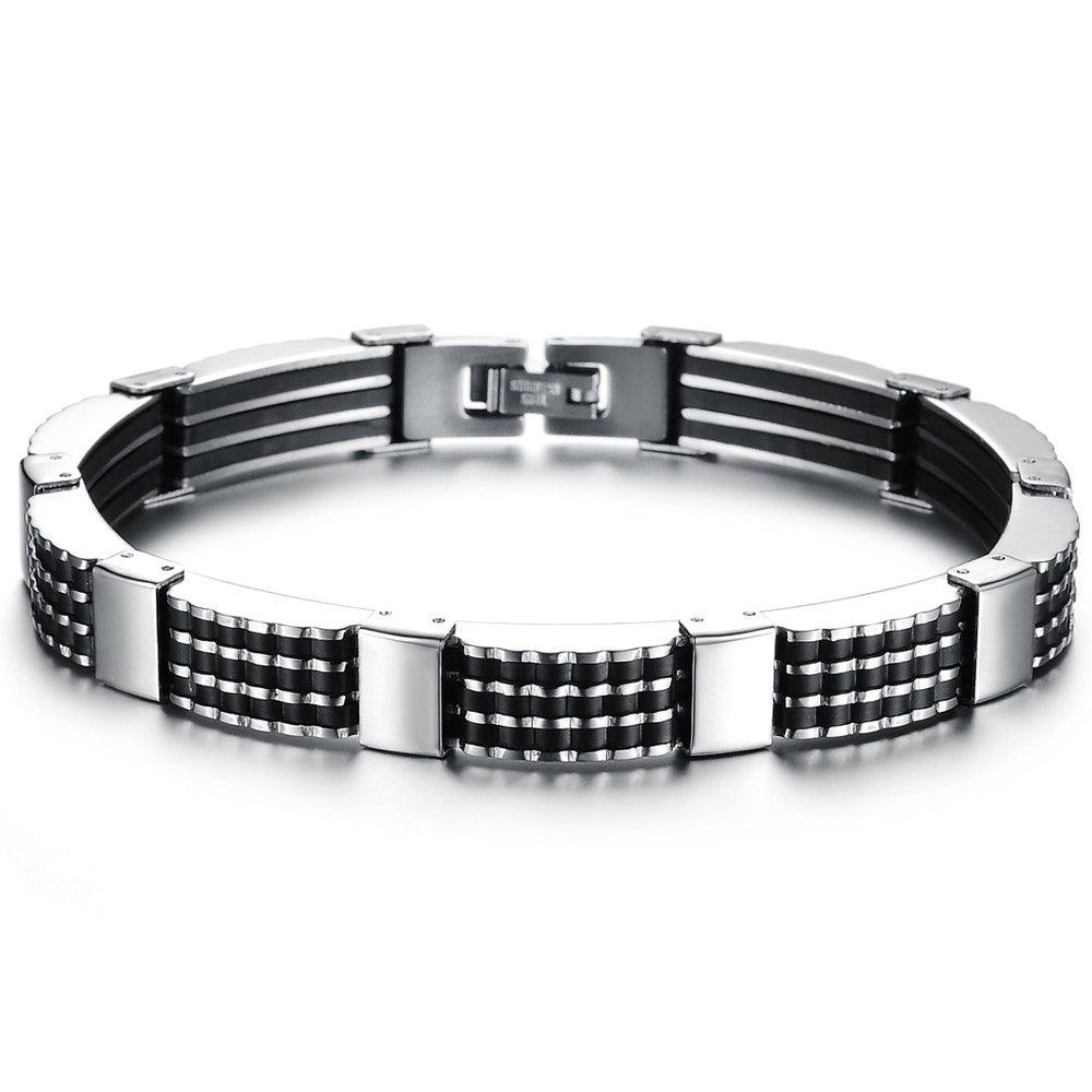 Classic Luxury Man Bracelets Fashion Male Jewelry Black Best Friends Bangles Made Of Silicone & Stainless Steel Bracelet Men