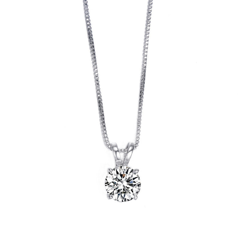 Classic Permanent 2ct Solitaire Hearts and Arrows CZ Pendant Necklace