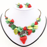 Classic Strawberry Jewelry Sets High Quality Antique Gold Plated Red Sweet Fruit Necklace Set Party Gifts