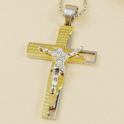 Classical Catholic Church Stainless Steel Jesus Cross Necklace Religion Crucifix Pendant Jewelry For Men&Women