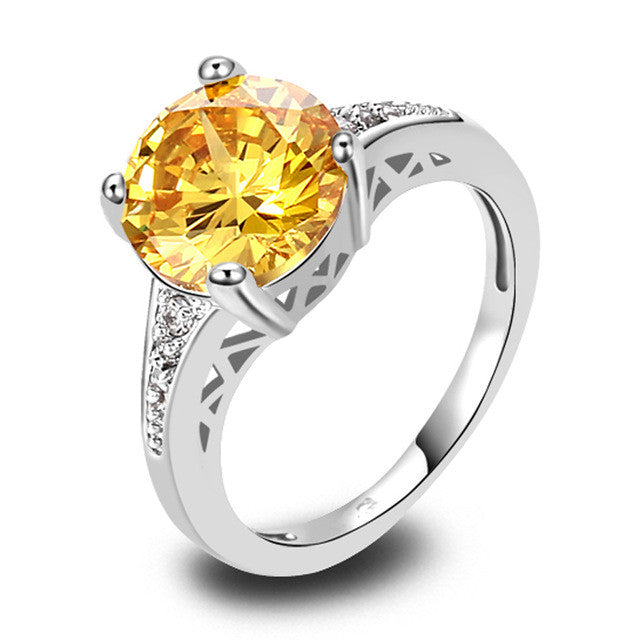 Cocktail Gold Jewelry Ring Round Cut Citrine & White Sapphire 925 Silver Ring