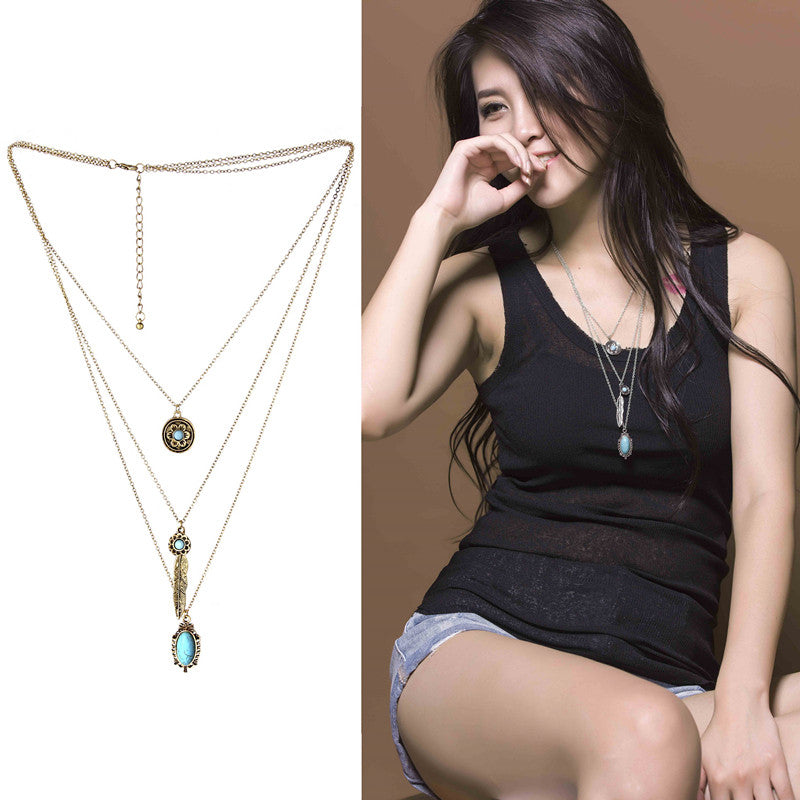 Colar Women New Fashion In Chain Necklace Western Vintage Turquoise Gros Collier Femme Jewelry Multi Layer Necklace Gold