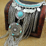 Collier Femme Thai Silver Coins Bohemian Tassel Pendant Colar Statement Necklaces vintage jewelry for women