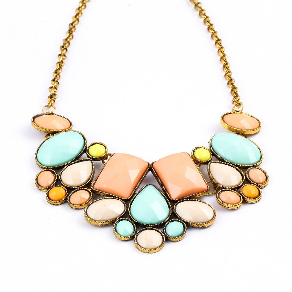 Collier Resin Gem Choker Statement Necklaces gioielli Link Chain Necklace collares Bijoux Necklace For Women Maxi Necklace colar