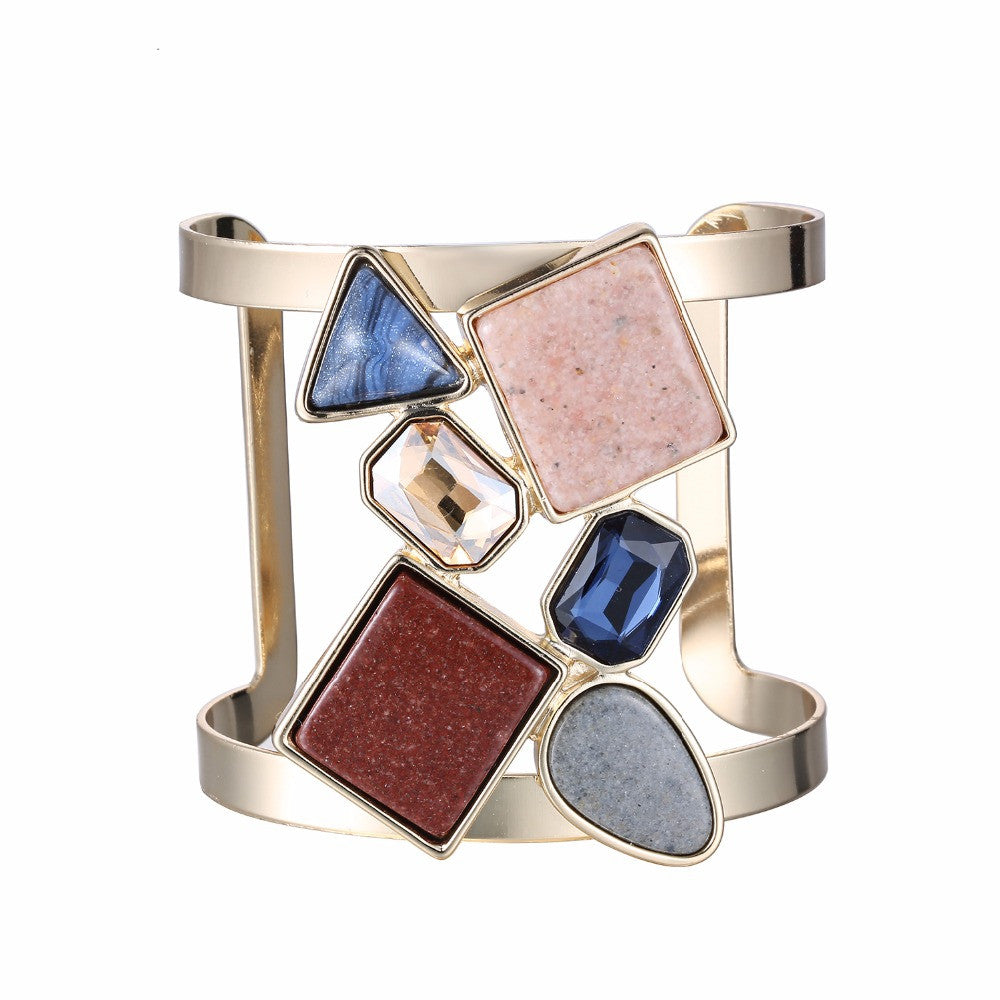 Colorful Geometric Hollow Statement Cuff Bangle Open Bracelets for Women Crystal Stone Copper Gold Plated Jewelry