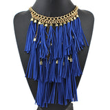 Colorful Handmade Leather Tassel Necklace Fashion Women Jewelry Unique Collar Statement Necklaces & Pendants Accessories