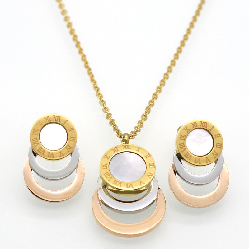 Consist 3 Colour Gold/Silver/Rose Gold Stainless Steel Jewelry Sets Brand Women Earrings & Necklace Jewelry Set For Female