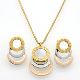 Consist 3 Colour Gold/Silver/Rose Gold Stainless Steel Jewelry Stes Brand Women Earrings & Necklace Jewelry Set For Female