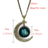 Constellation Glass Cabochon Pendant Necklace Vintage Bronze Crescent Moon Accessories Chain Necklace For Women fine Jewelry