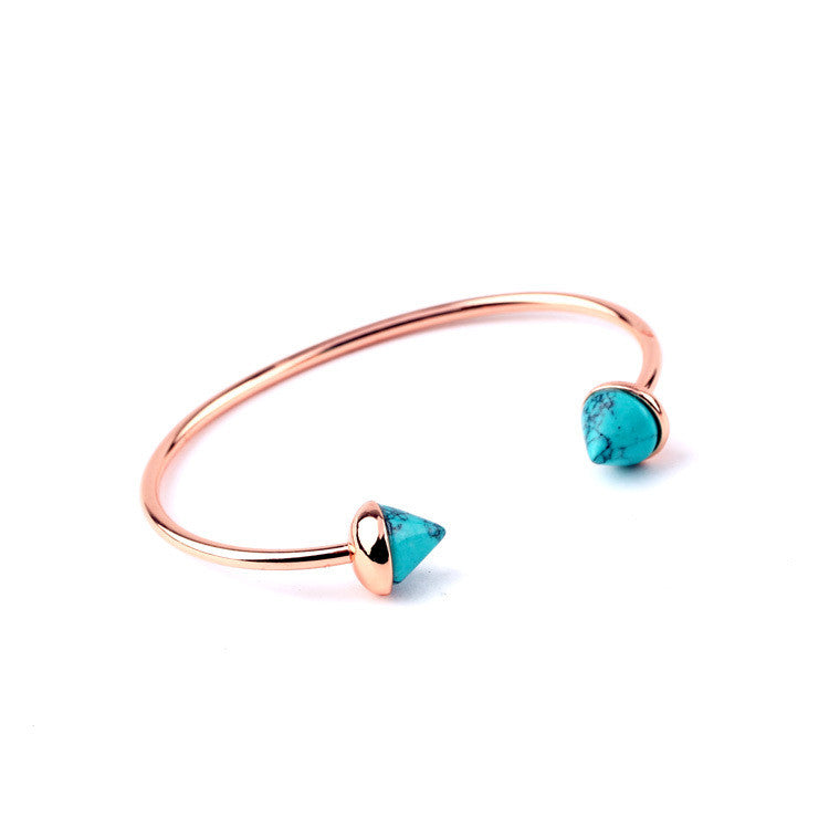 Contracted Beach Party Jewelry Euro-Pop Rese Gold Plated Rivet Turquoise Bangles